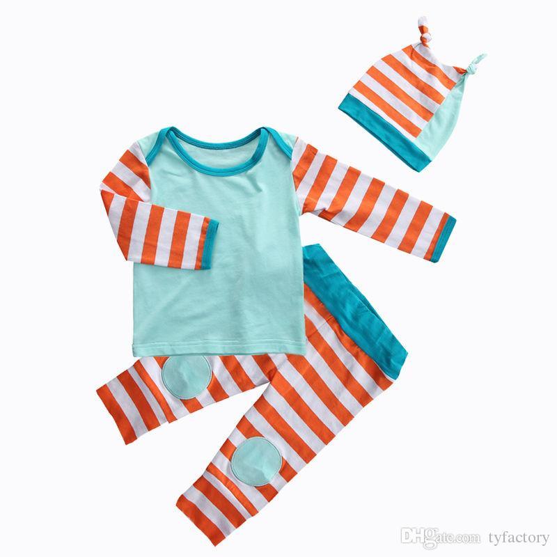2016 famous girls suit Newborn Baby Girl Boy fashion long sleeve T-shirt+Pants Leggings+Hat casual Outfits retro kids Set top Clothes