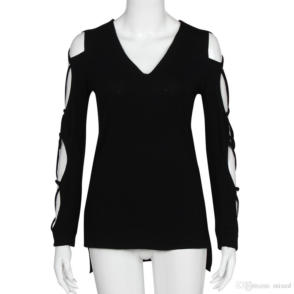 Primavera Estate Moda Donna T-Shirt T-shirt Manica Lunga Scava Fuori Tops Tee Femme Sexy Scollo AV Magliette Top Casual Plus Size XXL