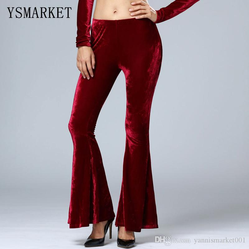 Velvet bootcut leggings