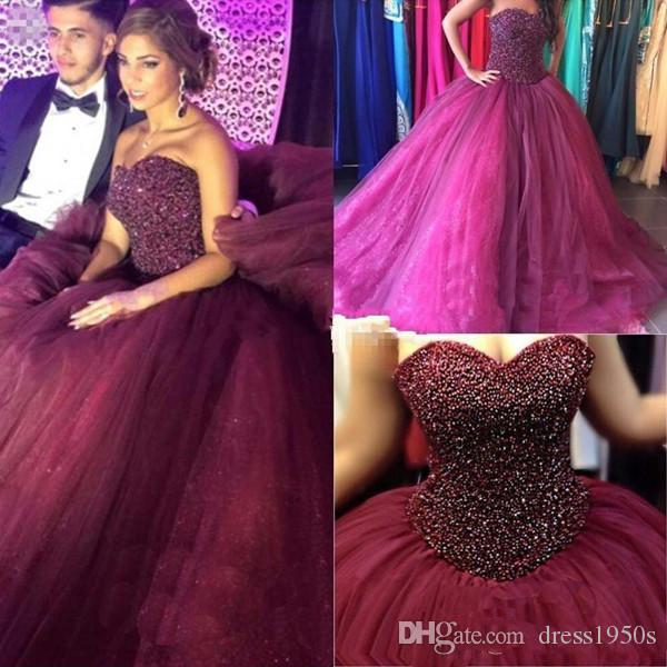 Sexy Burgundy Quinceanera Dresses Ball Gowns Sweetheart Sweep Train Beaded Girls Formal Prom Party Gowns Plus Size Custom Made