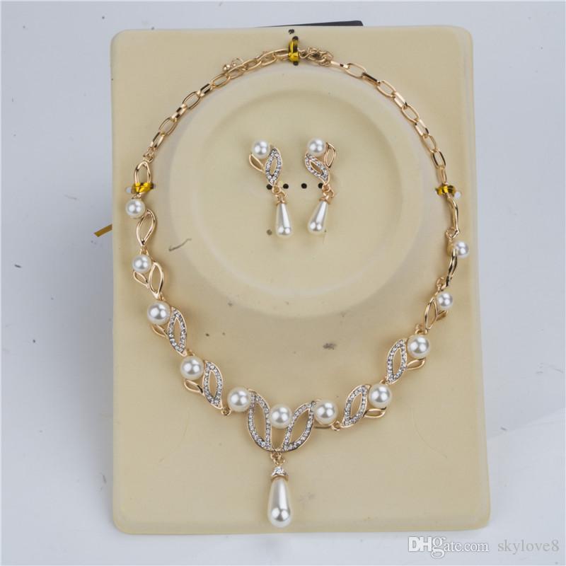 18k collier de perles fille en or + perle Boucles ensembles de mariée de la mode mosaïque perles de cristal fleurs usine mis bijoux cocktail ensemble de bijoux