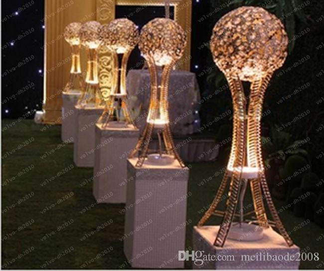 H31.5 pollici Globe stand di centrotavola eventi di nozze centrotavola argento o oro