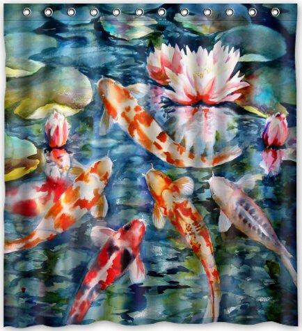 2019 Japanese Koi Fish Popular Bath Curtain Shower 66 X 72 With Hooks From Littleman913 402