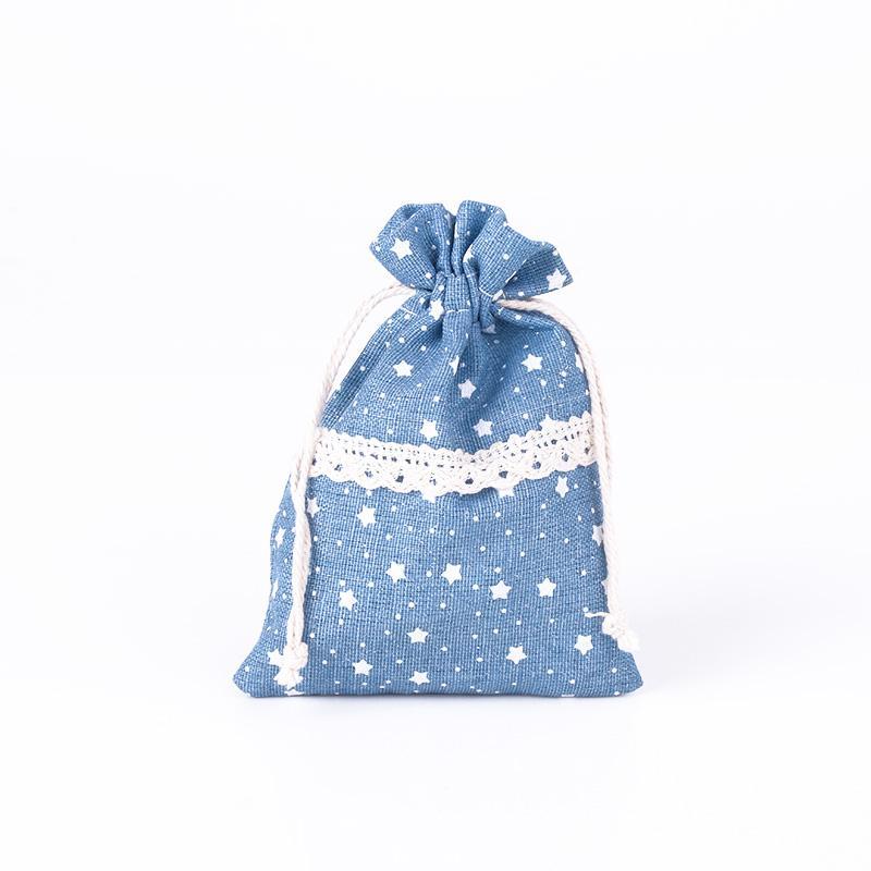 Blanda stil 8x12cm bomull linne dragsko påse väska smycken godis jul / bröllop presentväskor ne814