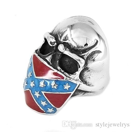 ! Classic American Flag Infidel Skull Ring Stainless Steel Jewelry Vintage Star Motor Biker Men Ring SWR0658