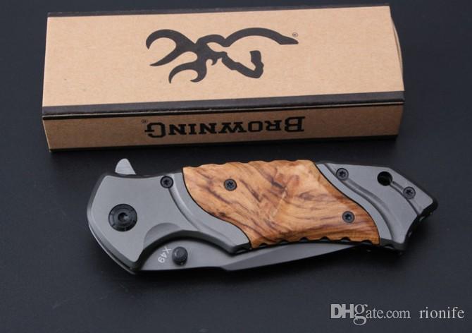 Browning X49 Tático Faca Dobrável de Aço Lâmina De Madeira Lidar Com Facas de Sobrevivência de Bolso Titanium Huntting faca Pesca Ferramenta EDC frete grátis