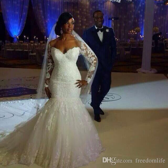 Modest Mermaid Wedding Dresses 2017 Lace Appliques Sexy Open Back Vintage Long Sleeves Plus Size Sequins Puffy Arabic Bridal Gowns