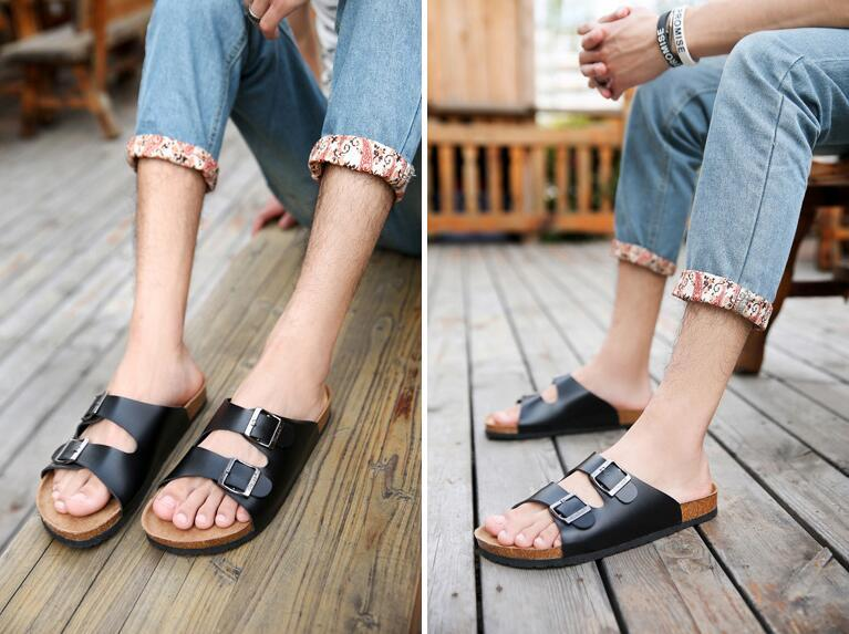 fashion cork slippers cowhide sandals summer Matte leather comfortable seaside casual shoes Large size Couple slippers
