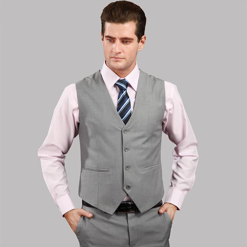 03c527a535 New Wedding Dress High-quality Goods Cotton Men s Fashion Design Suit Vest    Grey Black High-end Men s Business Casual Suit Vest