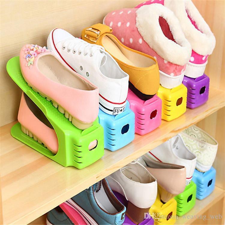 Sapatos de Plástico Rack de Camada Dupla Integrado Sapateira Prateleira Estilo Moderno Sapato De Armazenamento Rack de 25 cm de Comprimento 8 Cores