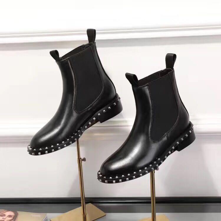 vente! bateau gratuit! u753 40 noir cheville véritable stretch en cuir plat bottes courtes choix celeb mode