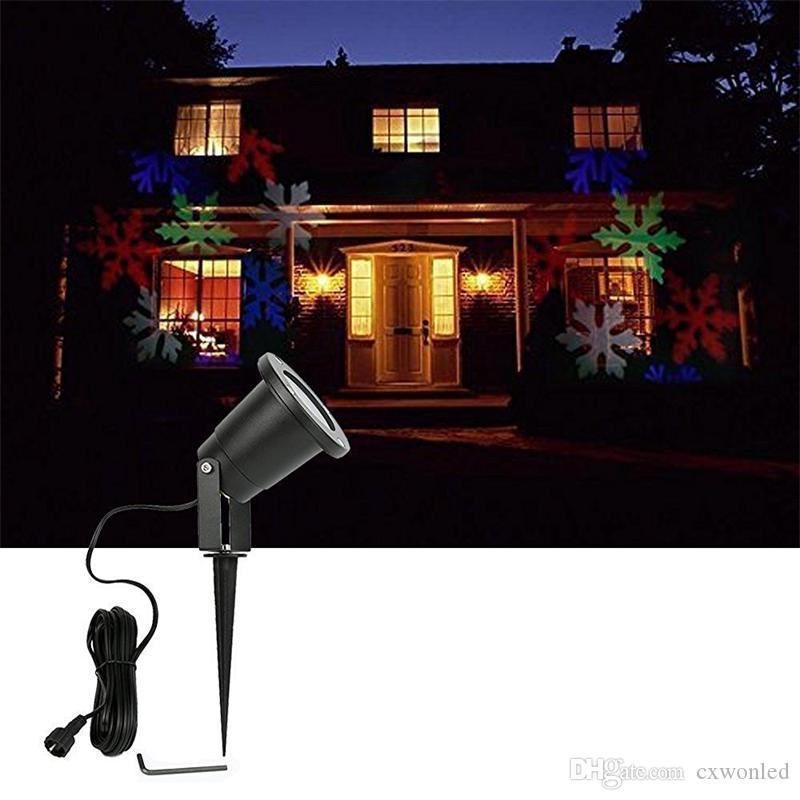Waterproof Moving Snow Laser Projector Lamps Snowflake LED Stage Light For Christmas Party Light Garden Lamp Outdoor