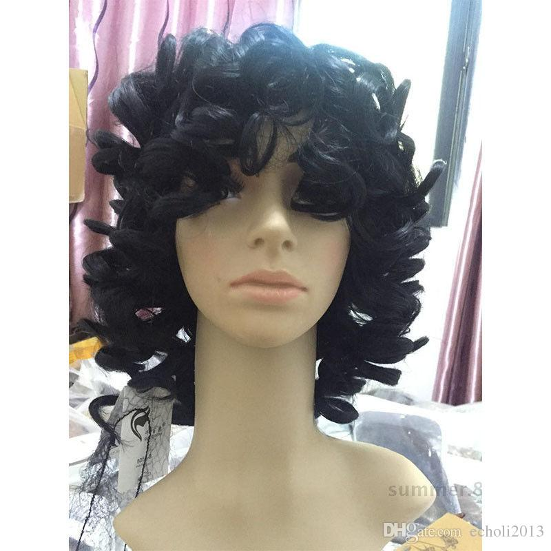 Bob curly human hair wigs with bangs short brazilian curly full lace human wig for black women lace front wig cheap for sale