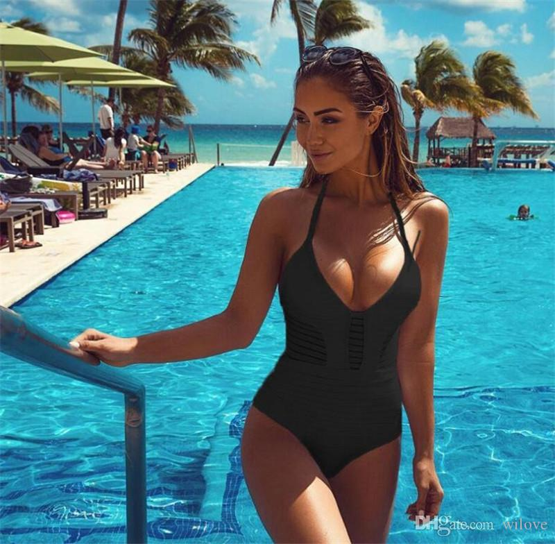 New Summer Style Push Up Halter Top Bathing Suit Sexy Women One Piece Swimwear Conjoined Monokini Swimsuit