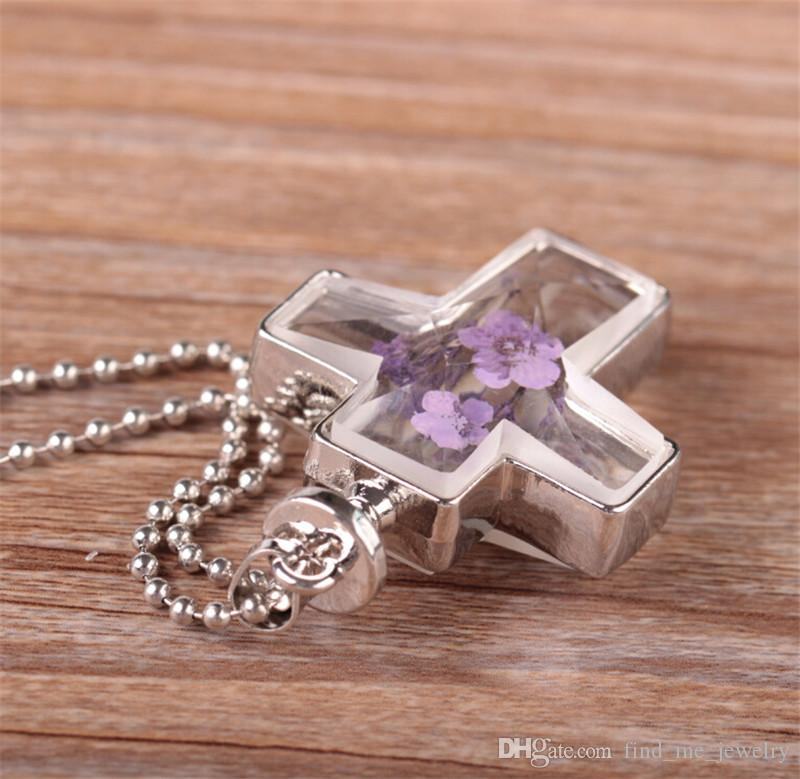quente! 2017 nova moda cruz de cristal de vidro colar de pingente de colar artesanal de ouro e prata colar retro jóias para mulheres acessórios