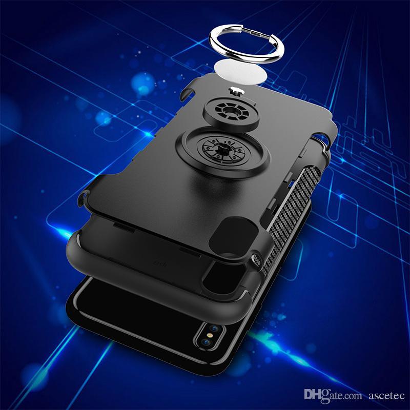 Für iPhone XS XR MAX X 7 8 Amor Standplatz-Fall Plastik Hybrid rückseitige Abdeckung für Samsung-Anmerkung 9 8 S7 Rand S8 mit Magneten Saugring