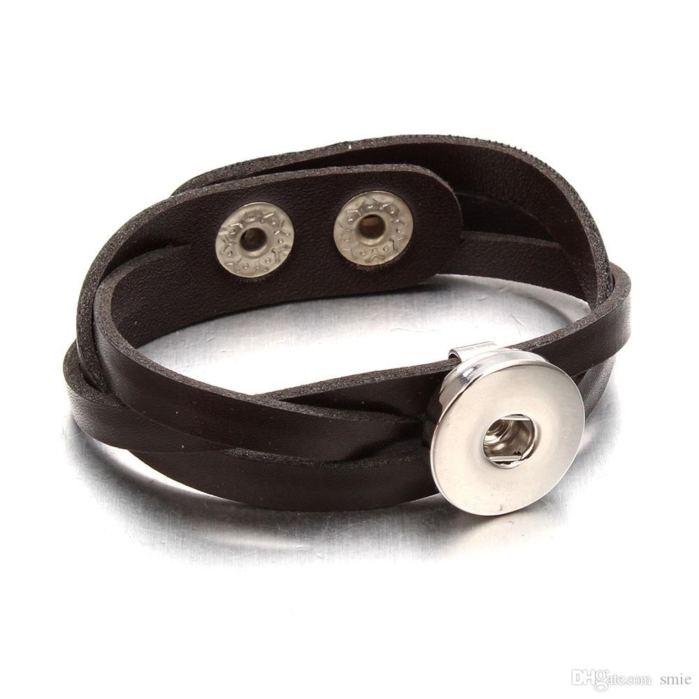 Mode Noosa pu En Cuir Charme Bracelet DIY Gingembre 18mm Snap Bouton Nosa Morceaux Bracelets Bracelet Pour Les Femmes Déclaration Bijoux j4129
