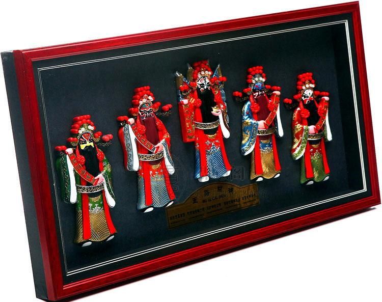 Embossed Peking opera characters pendant, five road God of wealth rectangular wall hanging, Chinese wind background wall package post