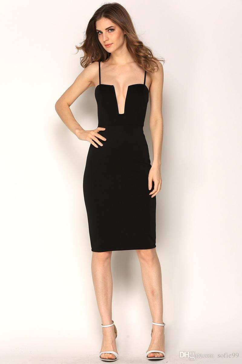 25afe074c970 Sexy Deep V Neck Black Dress Women Elegant Sleeveless Summer Dress Zipper  Backless Party Dresses Vestido De Festa Casual Dresses Online with  $21.55/Piece on ...