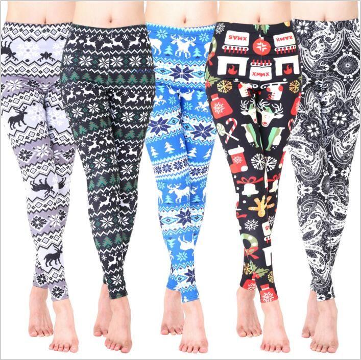 313c64cc3ff9d0 2019 Christmas Leggings Women Winter Pants Snowman Elk Tights Floral  Flowers Slim Jeggings Casual Skinny Trousers Elastic Fashion Leggings B3446  From ...