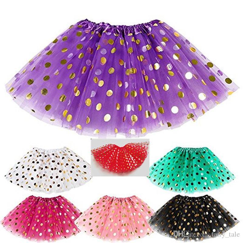 2019 Girls Gold Polka Dot Tutu Skirt Baby Christmas Tutus