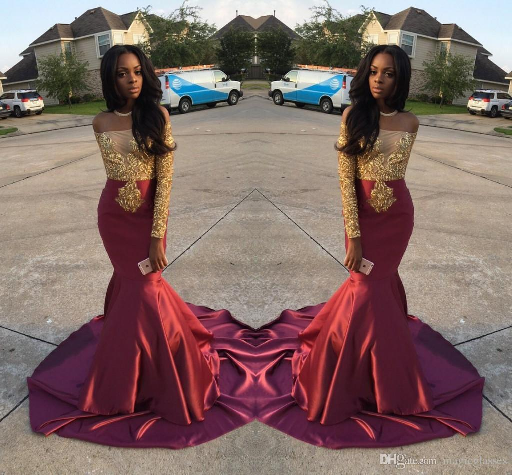 Charming African Style Off Shoulder Prom Dresses 2017 Gold And ...