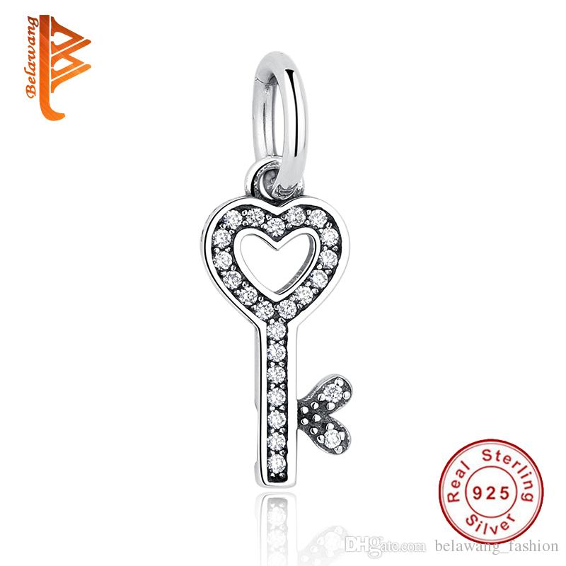 BELAWANG Authentic 925 Sterling Silver CZ Pendant Symbol Of Trust LOVE Heart Key Charm Beads fit Pandora Charm Bracelet DIY Jewelry Making