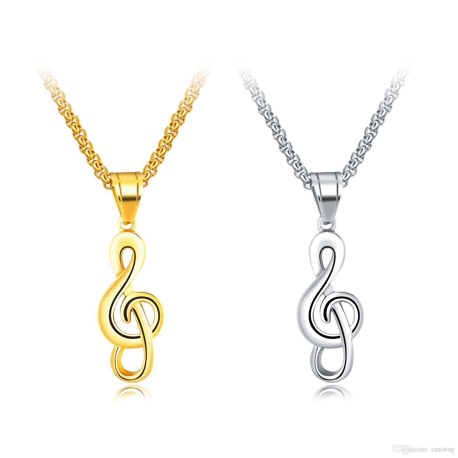 chain necklace elegant musical shop note eustaciegold silver jewelry sterling womens pendant