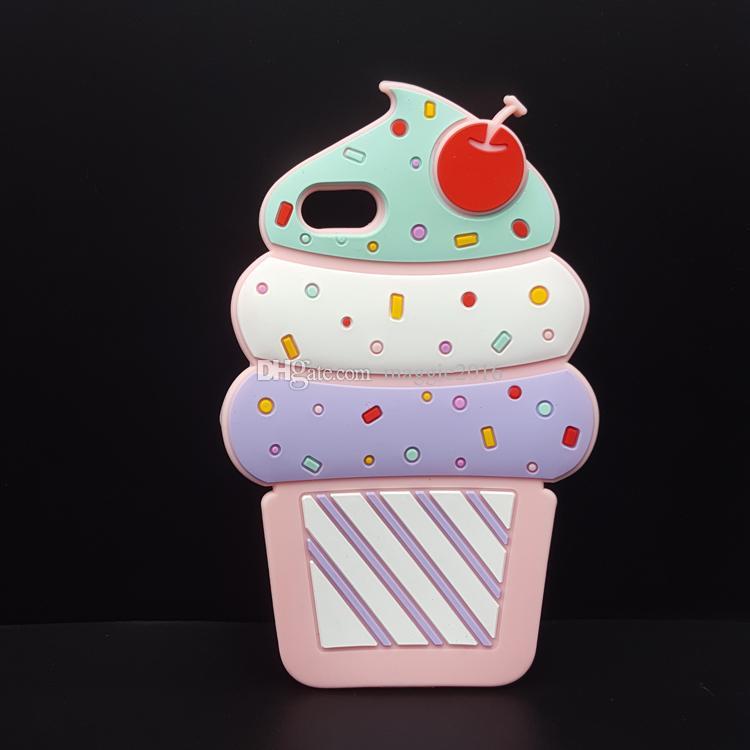 2017 New 3D Cute Color Cupcakes Ice Cream Design Soft Silicone Cover Case for IPhone 4 4S 5 5S 5C 5SE 6 6S 6 /6S Plus 7 /7plus