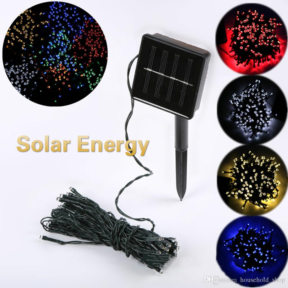Christmas Solar Energy Coloured Lights 100LED Christmas Decorative Lights Tree Colorful Lights Outdoor Garden Decorations Lamp string DHL
