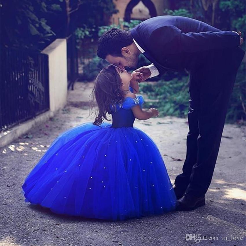Princess Style Cinderella Girls Pageant Dresses Royal Blue Ball Gown Diamonds Off Shoulder Puffy Flower Girl Dress Party Custom Made