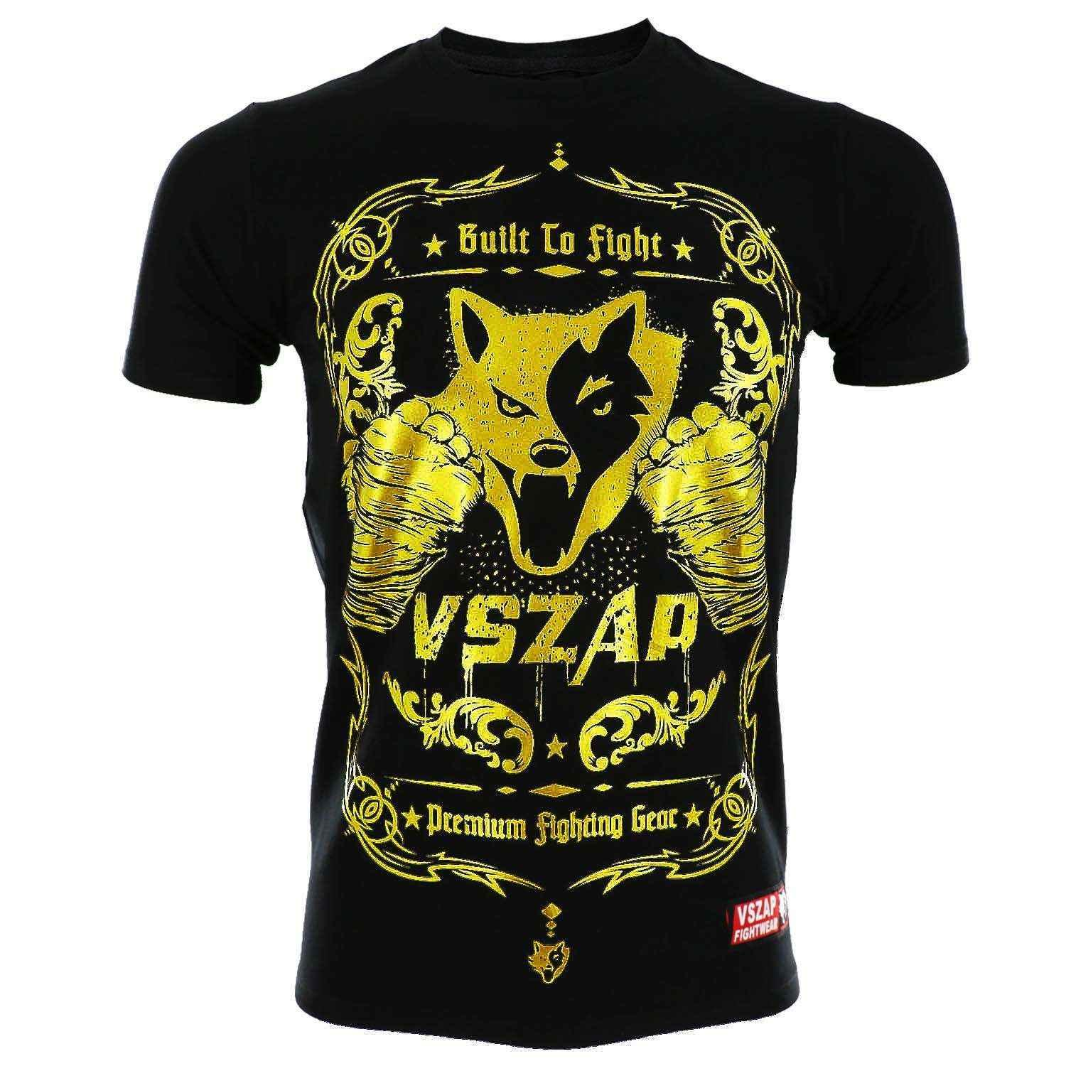 Black t shirt with gold design - Vszap Built To Fight Gold Mma T Shirt Fight Muay Thai Male Combat Exercise Training T Shirt Mma Design Shirts Cool Tshirts From Hithotwin 17 63 Dhgate