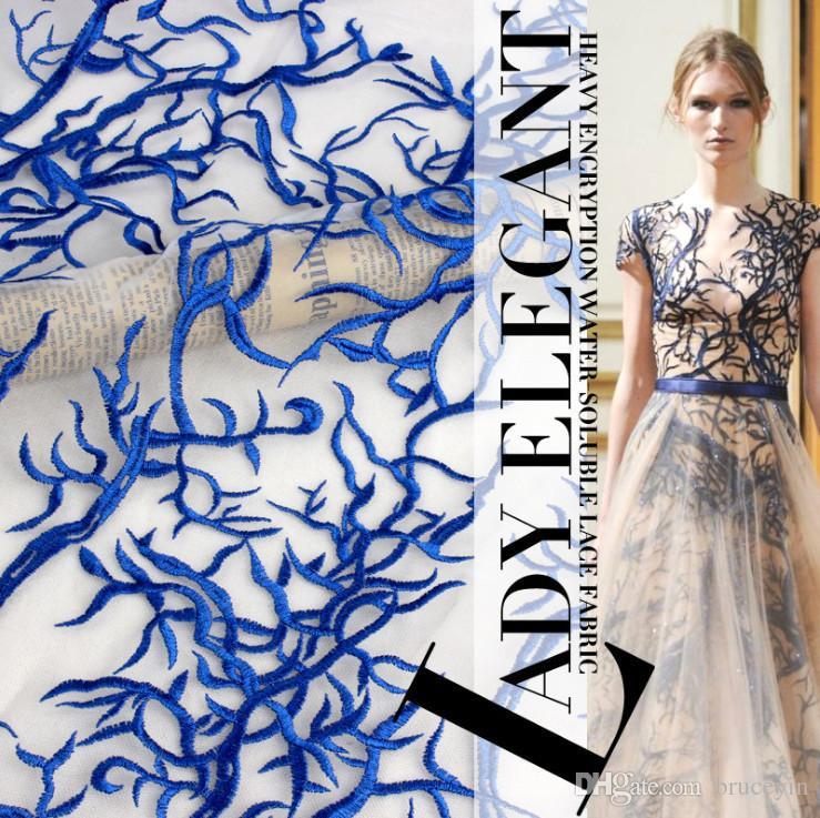 Dantel kumaş Moda, düğün Mavi Dantel trim, fransız Chantilly dantel kumaş 3 yard /