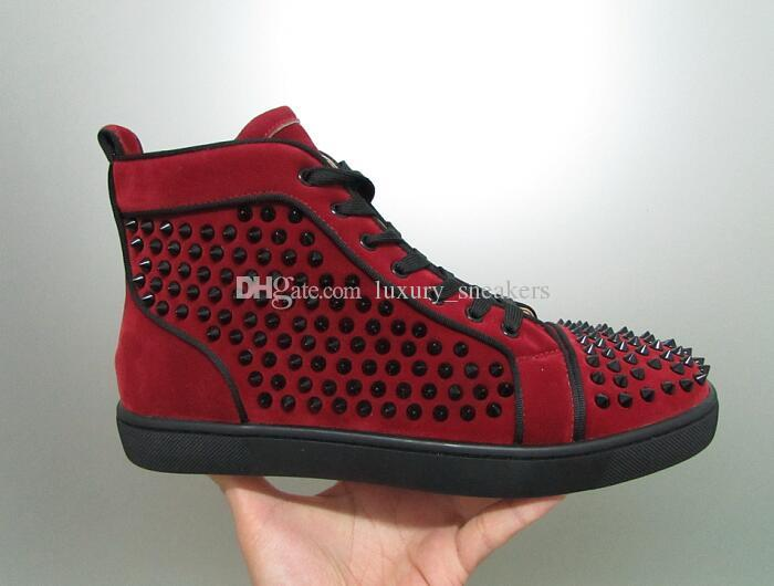 24d02e4de17 Designer Luxury Men Women High Top Wine Red Red Bottom Shoes Burgundy Suede  With Black Spikes Sneakers For Sale