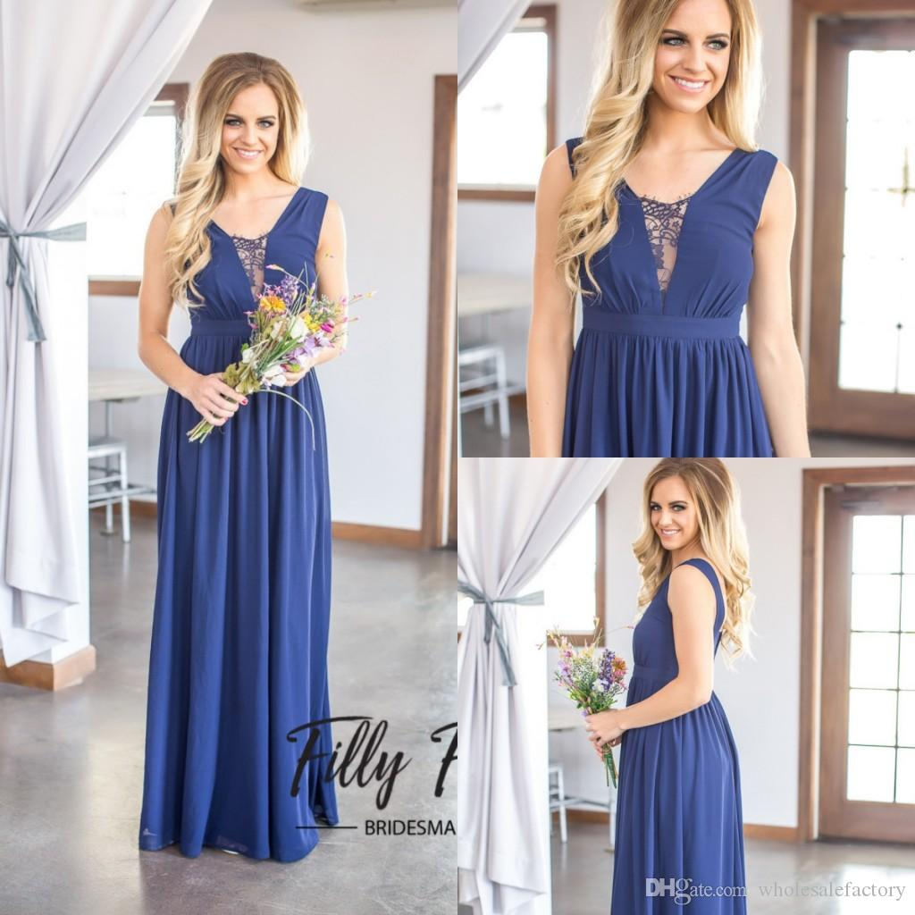 db516bbab5 Dark Navy A Line Bridesmaid Dresses With V Neck 2017 Cheap Long Chiffon Bridesmaid  Gowns For Summer Low Back Unique Wedding Guest Gowns Junior Bridesmaid ...