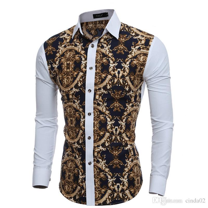 6623f2d6b Compre Grandes Estampados Florales De La Vendimia Camisas De Vestir Para  Hombre Camisa De Manga Larga Slim Fit Casual Social Para Hombre Chemise A   29.28 ...