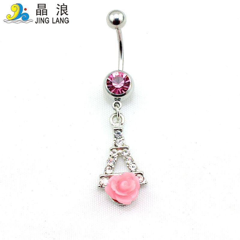 Novo! Atacado Moda Prata Pólo Strass Branco Rosa Flor Effiel Torre Umbigo Anéis Piecing Para As Mulheres Da Jóia Do Corpo