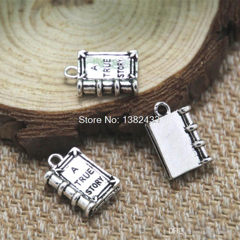 "! Antique Silver ""A TRUE STORY"" Book Charm Pendants 18x12mm3/4""x1/2"" B18397"