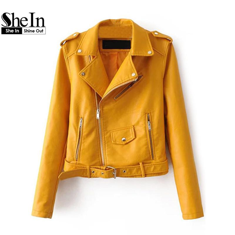 8b38e479f0 Wholesale SheIn Womens Casual Coat 2016 New Arrival Autumn Lapel Long  Sleeve Faux Leather Belted Moto Basic Jacket With Zipper Outwear Track  Jackets Jackets ...
