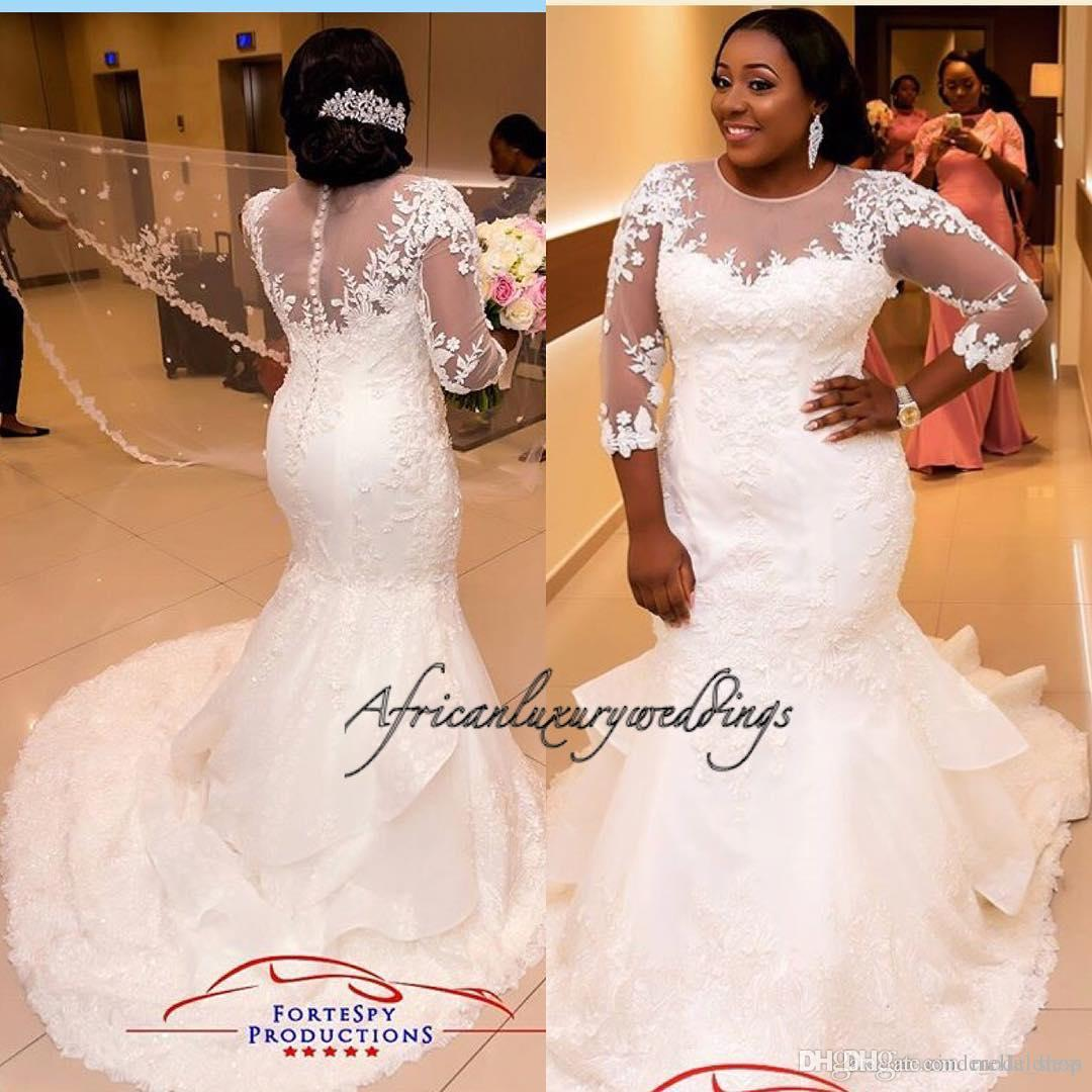 2021 Africa Plus Size Mermaid Wedding Dresses Jewel 3/4 Long Sleeve Sweep Train Illusion Bodice Appliques Beaded Chapel Country Bridal Gowns