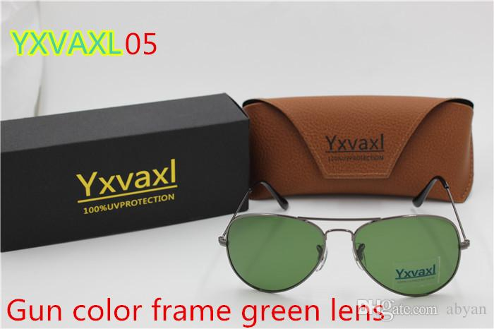 2017 new High quality men and women sunglasses Brand sunglasses Gold frame brown glass lens 58mm and 62mmUV400 black box for