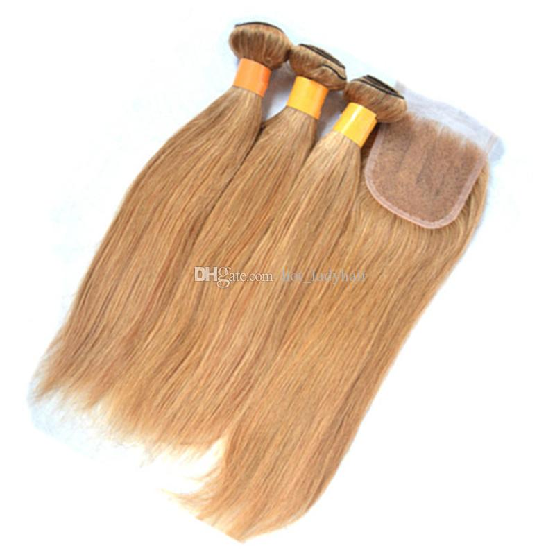 Honey Blonde Straight Lace Closure With Hair Bundles Color #27 Brazilian Blonde Virgin Hair Weaves With 4*4 Top Closure