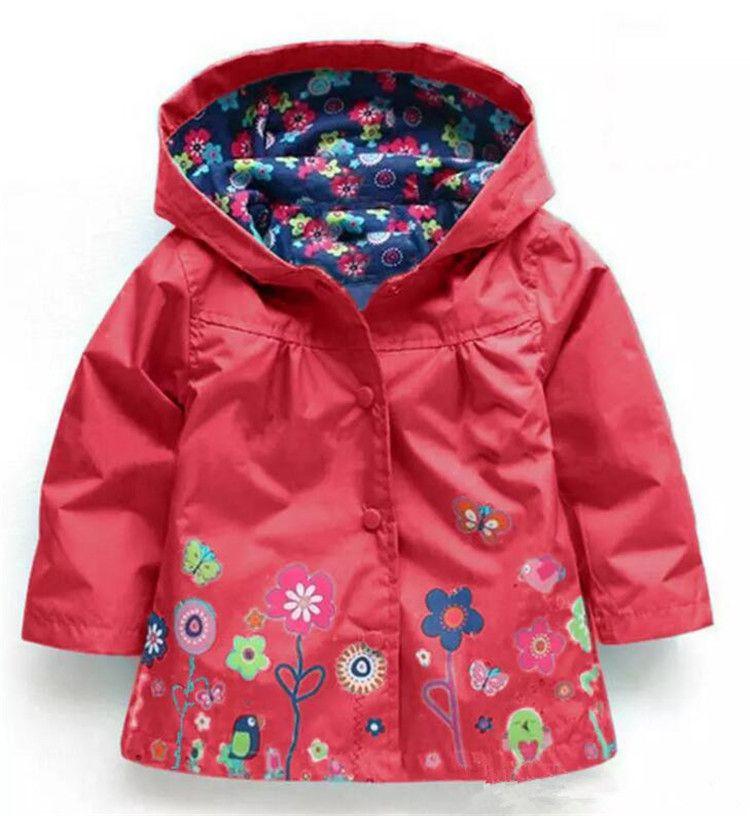 Girls flower Raincoat Free DHL Kids Fashion Baby Girls Clothes Winter Coat Flower Raincoat Jacket For Windproof Outwear B11