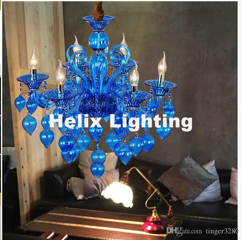 Spedizione gratuita colorato lampadario Lampade Coffee Shop Wedding Bar Blu Viola Rosso Giallo sfera di vetro della lampada moderna LED Lampadario
