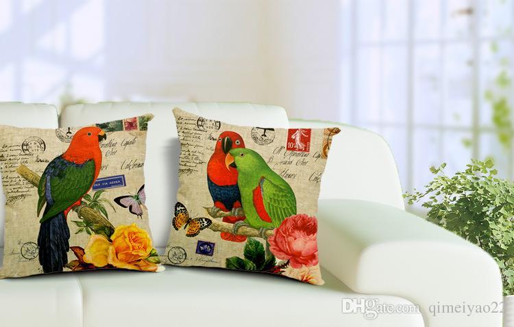 Parrot Cushion Cover Decorative Pillow Cover Car Pillow 45x45cm Sofa Coussins Capa De Almofada Housse De Coussin Kussenhoes Chair Home Decor