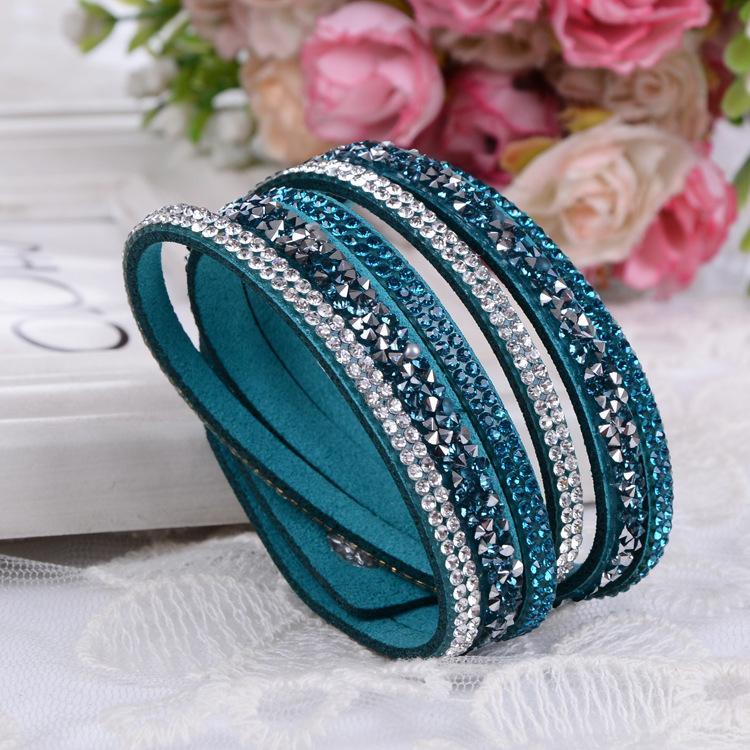 Bracciali in pelle nuovo modo 6 strati Wrap Bracciali Slake le donne con i cristalli a mano strass catena paio gioielli