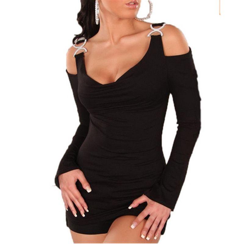 b562c1870c287e Zanzea 2017 Off Shoulder T Shirt Women Summer Sexy Strap Long Sleeve Tops T  Shirt Casual Slash Neck Rhinestone Buckles Blusas Online Shopping Tee  Shirts ...