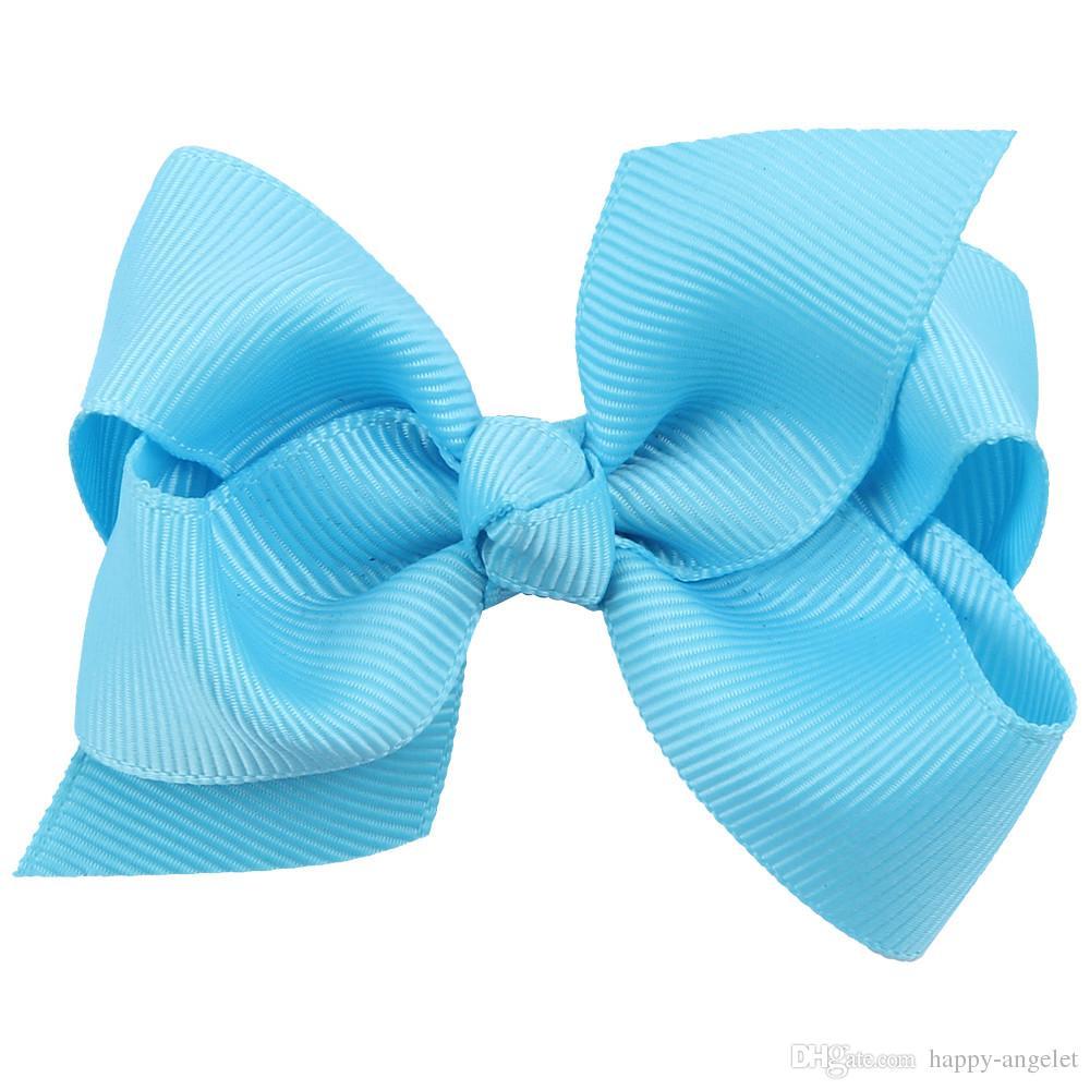 venta caliente coreana de 3 pulgadas de la cinta grosgrain Hairbows Accesorios del bebé con el clip Boutique arcos del pelo de las horquillas del pelo corbatas HD3201
