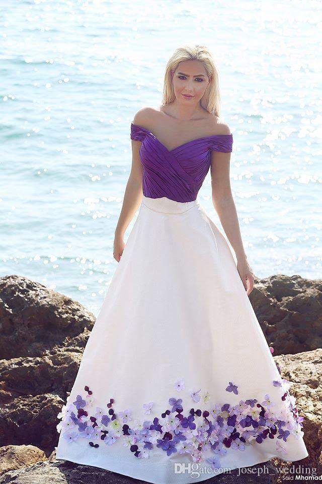 2017 Vestido De Festa Weiß Satin V-ausschnitt Falte A-linie Abendkleider Appliques Schulterfrei Abendkleider