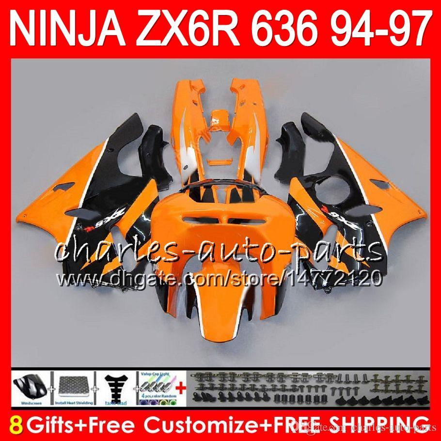 8Gifts KAWASAKI NINJA ZX636 ZX6R 94 95 96 97 ZX 636 ZX 6R arancione nero 33NO39 600CC ZX-636 ZX-6R 1994 1995 1996 1997 Carenatura